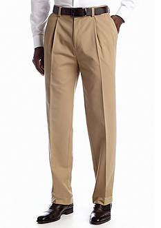 Savane Straight-Fit Dress Khaki Pleat Wrinkle Resistant Pants