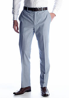 Savane Classic Fit Linen Flat Front Comfort Waist Dress Pants
