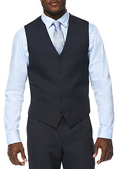 Savane Travel Intelligence Navy Houndstooth Classic Fit Suit Separate Vest
