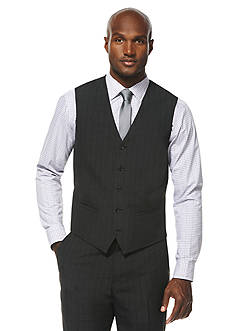 Savane Travel Intelligence Classic Fit Charcoal Shadow Plaid Suit Separate Vest