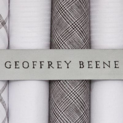Young Men: Geoffrey Beene Accessories: Mid Grey Geoffrey Beene 5-Pack Handkerchief