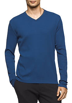 Calvin Klein Long Sleeve Rib V-Neck Shirt