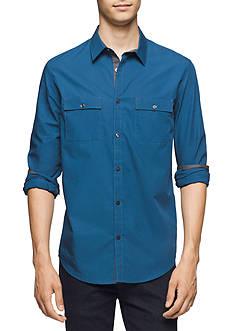 Calvin Klein Long Sleeve Solid Poplin Shirt