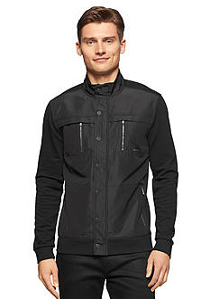Calvin Klein Jacquard Mixed Media Full Zip Jacket