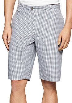 Calvin Klein 10.5-In. Shadow Check Extended Waist Plain Weave Shorts