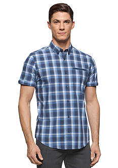 Calvin Klein Short Sleeve Windowpane Plaid Shirt