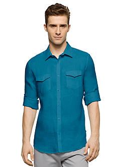 Calvin Klein Long Sleeve Roll Up Linen Shirt
