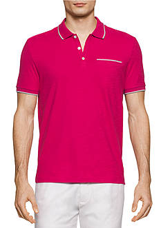 Calvin Klein Liquid Cotton Short Sleeve Solid Slub Tipped Polo Shirt