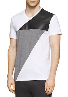 Calvin Klein Short Sleeve Jersey Leather Fabric Blocked T-Shirt