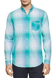 Calvin Klein Long Sleeve Dobby Dot Plaid Collar Shirt