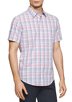 Calvin Klein Short Sleeve Even Square Plaid Collar Shirt