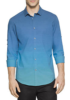 Calvin Klein Long Sleeve Engineered Horizontal Stripe Collar Shirt