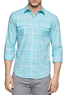 Calvin Klein Long Sleeve Two Pocket Heather Check Collar Shirt