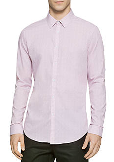 Calvin Klein Long Sleeve Square-Speck Print Shirt