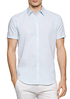 Calvin Klein Short Sleeve Horizontal Dobby Stripe Collar Shirt