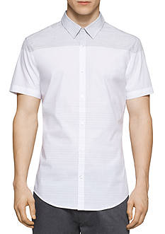 Calvin Klein Short Sleeve Engineered Stripe Woven Shirt