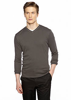 Calvin Klein Long Sleeve Ribbed Knit V Neck