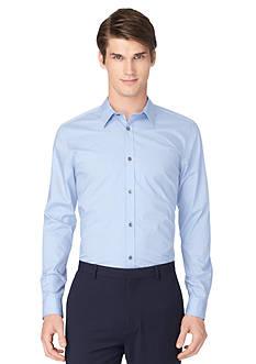 Calvin Klein Non-Iron Striped Poplin Long Sleeve Shirt