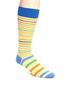 Tallia Orange Multicolored Thin Striped Socks - Single Pair