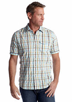 Tommy Bahama® Short Sleeve Seersucker Plaid Woven Shirt