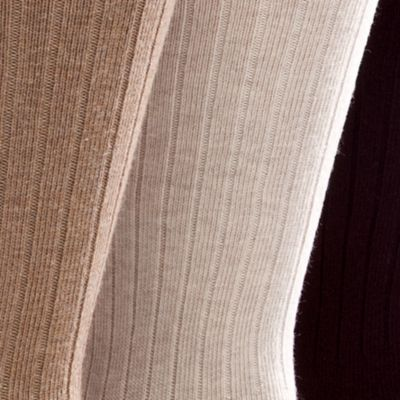 Chaps: Brown Assorted Chaps 3-Pack Casual Ribbed Socks
