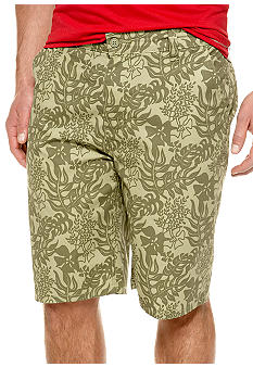 Chor Green Leaf Print Shorts