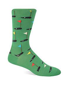 Hot Sox Golf Print Crew Socks - Single Pair
