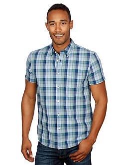 Lucky Brand Short Sleeve Smart Military Plaid Shirt