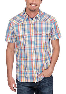 Lucky Brand Short Sleeve Ballona West Plaid Shirt