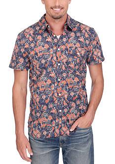 Lucky Brand Short Sleeve Flap Pocket Floral Shirt