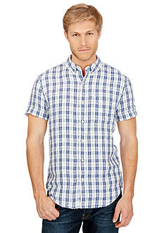 Lucky Brand Short Sleeve Linen Ballona Plaid Shirt
