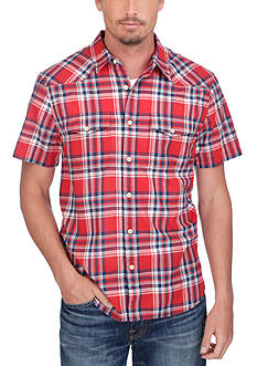 Lucky Brand Short Sleeve Flap Pocket Plaid Shirt