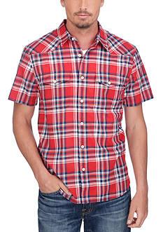 Lucky Brand Short Sleeve Flap Pocket Plaid Shirt