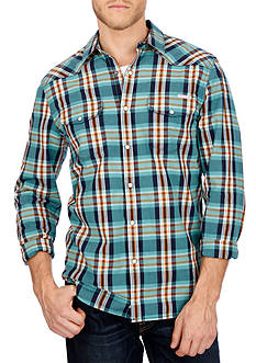 Lucky Brand Long Sleeve Santa Fe Western Plaid Button Down Woven Shirt