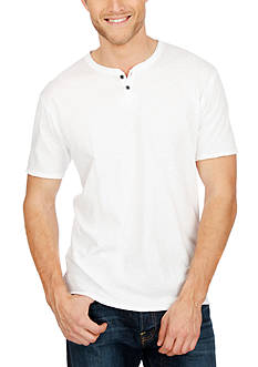 Lucky Brand Short Sleeve Solid Notch Neck Shirt
