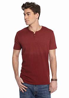 Lucky Brand Short Sleeve Solid Notch Neck Shirt