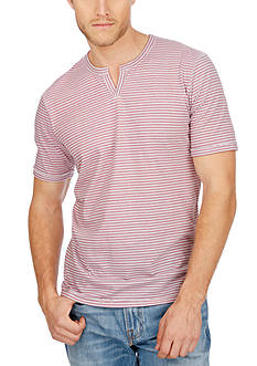 Lucky Brand Short Sleeve Stripe Notch Tee