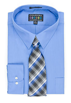 Alexander Julian Big & Tall Fitted Boxed Dress Shirt & Tie Set