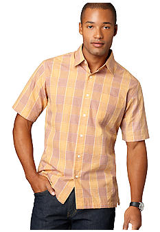 Van Heusen Wrinkle Free Plaid Check Pucker Woven Shirt