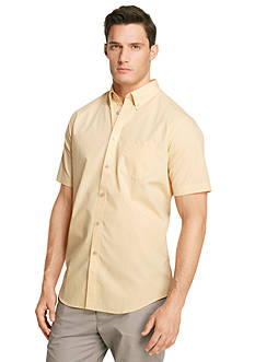 Van Heusen Short Sleeve Mini Plaid Woven Shirt