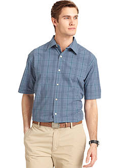 Van Heusen Box Grid Puckered Button Down Shirt