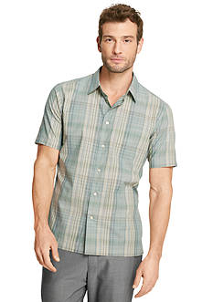Van Heusen Linen Like Plaid Woven Camp Shirt