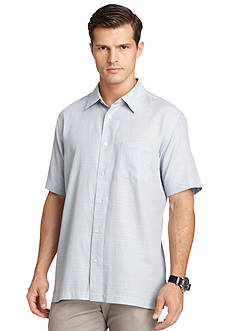 Van Heusen Linen-Like Check Short Sleeve Shirt
