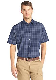 Van heusen short sleeve non iron plaid woven shirt for Van heusen plaid shirts