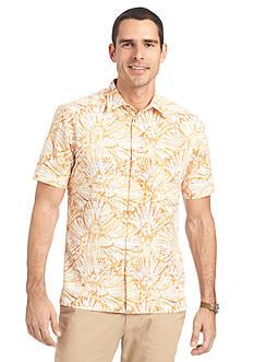 Van Heusen Short Sleeve Floral Rayon Polyester Woven Shirt