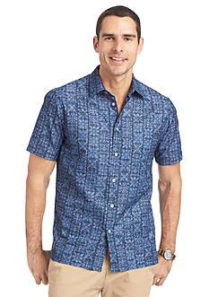 Van Heusen Short Sleeve Polynesian Printed Dobby Shirt