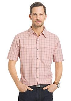 Van Heusen Plaid Traveler Short Sleeve Woven Shirt