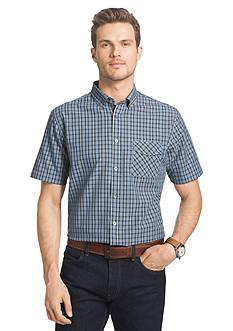 Van Heusen Short Sleeve Dot Plaid Woven Shirt