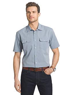 Van Heusen Short Sleeve Faux Denim Dobby Pointed Collar Shirt