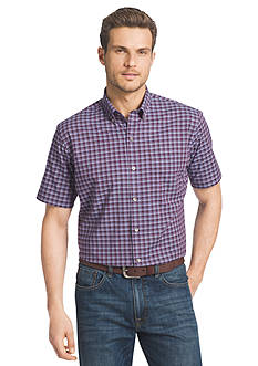 Van Heusen Short Sleeve Small Plaid Cool Shirt